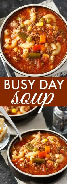 Busy Day Soup - An easy soup recipe your family will love! It's quick to make and takes little effort. Perfect for those busy weeknights. Gluten free option: Use gluten free pasta, cook it in a different pot before adding it to the soup. Crock Pot Recipes, Easy Soup Recipes, Slow Cooker Recipes, Cooking Recipes, Healthy Recipes, Cheap Recipes, Recipes Dinner, 5 Can Soup Recipe, Cooking Ham