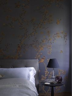 exquisite dark grey/purple wallpaper with gold painted chinoise | Fromental