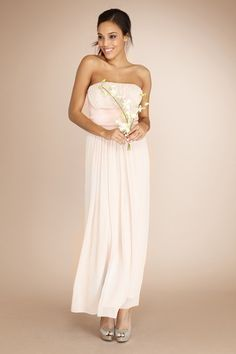 The Juliet Dress- Beautiful chiffon gathers together for a strapless silhouette with a satin empire waist band