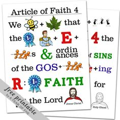 Article of Faith memorization Poster No. 4 by A Year of FHE