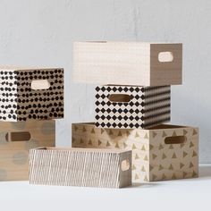 Wooden boxes from Sostrene Grene with a variety of patterns. Easy to make, I guess
