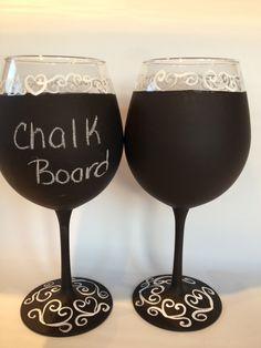 Chalk board wine glasses. Message me on facebook for more details  https://www.facebook.com/brusheswithaview