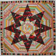 "8 Pointed Star Quilt, Big Twin Quilt, Scrap Quilt, String Quilt, 76"" x 76"" Quiltsy"