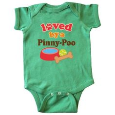 Inktastic Pinny-Poo Dog Lover Infant Creeper Baby Bodysuit Pinny-poo Loved By Dogs Pets Cute Gift Apparel Owner Pinny Poo Mixed Breed One-piece Hws, Infant Boy's, Size: 24 Months, Green