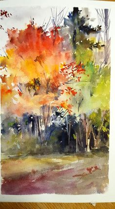 by Shuang Li Watercolor Painting Techniques, Watercolor Landscape Paintings, Watercolor Trees, Watercolor Artists, Abstract Watercolor, Landscape Art, Watercolor Portraits, Painting Tutorials, Bird Paintings