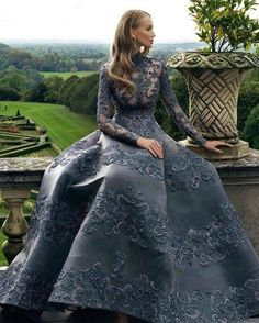 Ever Pretty Womens Fitted Evening Dress - Ufrock Royal Dresses, Ball Dresses, Ball Gowns, Evening Dresses, Dresses With Sleeves, Maya Diab, Couture Dresses, Fashion Dresses, Grey Gown