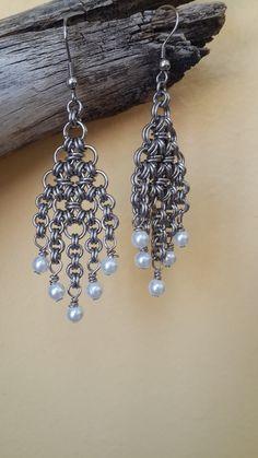 Chainmaille Fringed Diamond Earrings by Gen3studioS on Etsy