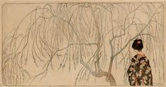 Emil Orlik  ||  Japanisches Mädchen unter Weidenbaum Japanese girl under willow tree Color Woodcut 1902, 18.4 x 36 cm