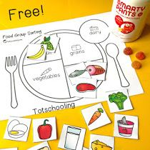 nutrition healthy eating FREE sorting activity for preschool and kindergarten to learn about the five main food groups. Teach kids about healthy eating and balanced meals. Sport Nutrition, Kids Nutrition, Nutrition Month, Nutrition Quotes, Nutrition Program, Nutrition Guide, Healthy Nutrition, Sorting Activities, Activities For Kids
