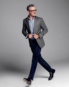 Gray blazer dark trouser patterned shirt