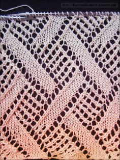 Diamond lace knitting pattern 6 ~ free text pattern and chart