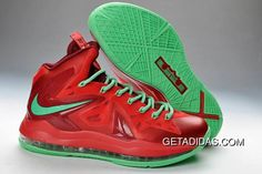 238d3c67e0bf Lebron 10 X Shoes Red Green TopDeals