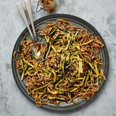 Meera Sodha's vegan recipe for sesame noodles with smacked courgette | Vegan food and drink | The Guardian