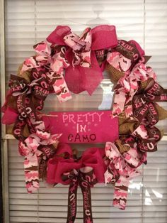 Pink Camo Wreath by UpcycledSouthern on Etsy, $70.00