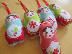 Matryoshka Ornaments   Teal And Red Christmas by bungalowquilts