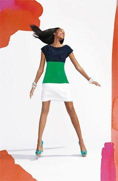 Eliza J Colorblock Silk Crêpe de Chine Dress $158 Love it. It reminds me of a preppy flag.