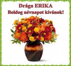 névnap, Erika, szöveges, képeslap, virágok, köszöntő,
