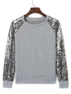Gray Sequin Panel Long Sleeve Sweatshirt