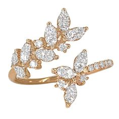 Round and Marquise White Diamond Open Rose Gold Petals Ring   See more rare vintage Cocktail Rings at https://www.1stdibs.com/jewelry/rings/cocktail-rings