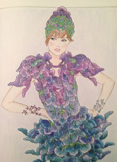 """Page from Creative Haven's """"Flower Fashion Fantasies"""" colored by Kate McAlister."""