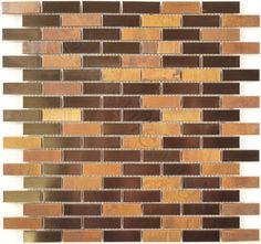 Flicker Tile  Kitchen, Uniform Brick, Bronze Copper + Antique Copper, Brushed, Antique Copper, Metal