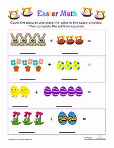 Kindergarten Worksheet: Easter Picture Addition - Just search for Easter and the grade level Easter Worksheets, Easter Activities, Spring Activities, Addition Worksheets, Kindergarten Worksheets, Kindergarten Classroom, Kindergarten Addition, Classroom Ideas, Numbers Preschool