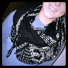 Cozy scarf Black and white warm scarf. Accessories Scarves & Wraps