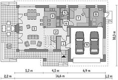 Rzut parteru projektu Murator M210 Jasna przestrzeń Floor Plans, Diagram, House, Home Plans, Haus, Home, Floor Plan Drawing, Houses, House Floor Plans