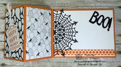 handmade Halloween card from Just Sponge It ... black and white with orange ... fancy fold ... designer papers ... Stampin' Up!