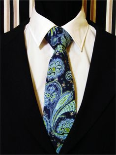Necktie, Tie, Navy Necktie, Navy Tie, Blue Necktie, Blue Tie, Green Necktie, Green Tie, Mens Necktie, Mens Tie, Paisley Necktie, Paisley Tie by EdsNeckties on Etsy