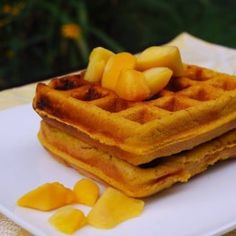 A recipe for healthy, vegan and gluten-free mango waffles made with golden mango puree and healthy flours like sorghum and brown rice flour.