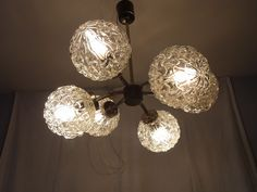 Mid Century 60´s Glass & Chrome 6 Ball Atomium Lamp Chandelier #