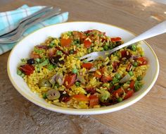 Rijstsalade met Chorizo My Favorite Food, Favorite Recipes, Lunches, Barbecue, Tapas, Foodies, Good Food, Rice, Pasta