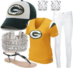 A fashion look from September 2012 featuring sports t shirts, J Brand and black shoes. Browse and shop related looks. Packers Funny, Packers Gear, Greenbay Packers, Sport Outfits, Cool Outfits, Amazing Outfits, Football Fashion, Football Gear, Football Food