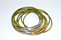 Leather Bangles Olive Green with Gold or Silver accents - Set of 5