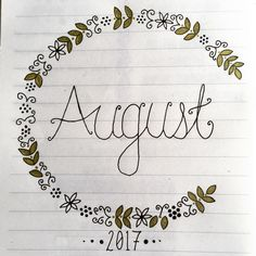 My bullet journal cover for August!