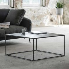 Coffee table cover in anthracite metal square - Couchtisch - Living Room Table Coffee Table Cover, Garden Coffee Table, Garden Table, Table Covers, Crate Decor, Ikea Living Room, Black Decor, Glass Table, Furniture Design