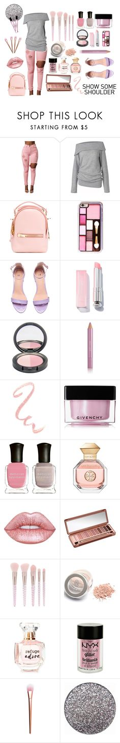 """""""Shimmy, Shimmy: Off-Shoulder Tops Contest"""" by texasradiance ❤ liked on Polyvore featuring Care By Me, Sophie Hulme, Estée Lauder, Givenchy, Deborah Lippmann, Tory Burch, Lime Crime, Urban Decay, Forever 21 and Refuge"""