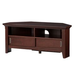 The Avington corner media TV stand offers a space-saving option for displaying your home entertainment equipment. It fits perfectly in a corner, letting you conserve wall space and also giving a great TV viewing angle from anywhere in the room. It has a hidden storage compartment and 2 shelves for your media devices and equipment, such as a Blu-ray player, gaming console, DVDs and more. The concealed compartment has sliding doors to keep the contents shielded from dust or dirt. This 42&#3...