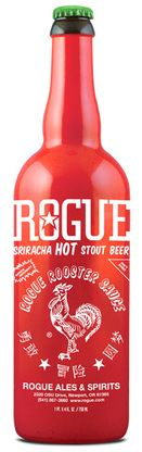 ROGUE Sriracha Hot Stout Beer, made from Huy Fong original hot chili sauce and sun ripened Rogue Farms ingredients, is ready to drink with soups, sauces, pasta, pizza, hot dogs, hamburgers, chow mein, or anything you'd like to wash down with a spicy kick.