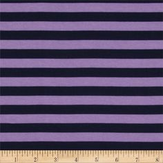 """Riley Blake Cotton Jersey Knit 1/2"""" Stripes Navy/Purple from @fabricdotcom  From Riley Blake Fabrics, this lightweight stretch cotton jersey knit fabric features a smooth hand and four way stretch for added comfort and ease. With 50% stretch across the grain and 25% vertical stretch, it is perfect for making t-shirts, leggings, loungewear, yoga pants and more! It features printed horizontal stripes."""