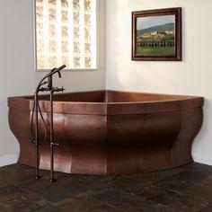 "85""+Rashid+Corner+Double-Wall+Copper+Soaking+Tub+-+No+Overflow+"