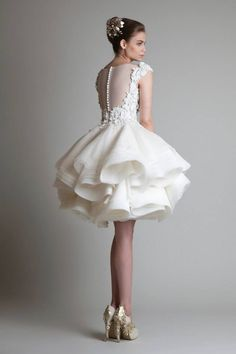 Best  Krikor Jabotian Short Wedding Dresses Lace Appliques Bateau Cap Sleeves Organza Ruffles Ball Gown Knee Length Wedding Bridal Dress