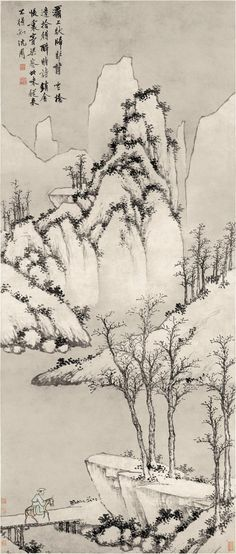Wind and Snow at the Ba Bridge (灞橋風雪圖)Shen Zhou (沈周, Ming Dynasty scroll, ink and light color on paper, 153 x cm, Tianjin Museum Asian Landscape, Chinese Landscape Painting, Japanese Landscape, Chinese Painting, Chinese Art, Landscape Paintings, Japan Painting, Painting Snow, Japanese Prints