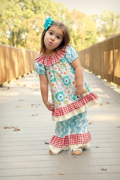 Girls Ruffle Neck Peasant Dress Short or Long Sleeves with Double Ruffles Seaside Collection. $38.95, via Etsy.