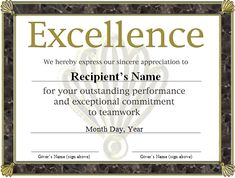 14 certificate of excellence templates free printable word pdf award templates free