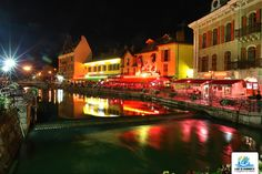 along a canal in the evening- Annecy, France