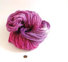 Pink and Purple Thick and Thin Merino Yarn - Hand dyed Merino Yarn - Thick and Thin Bulky Yarn - Bulky Merino Yarn - Pink Yarn
