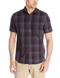 Calvin Klein Mens Medium Plaid Multi Check Short Sleeve Woven Shirt, Black, Large