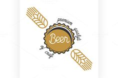 Color vintage beer brewery emblem by Netkoff on @creativemarket